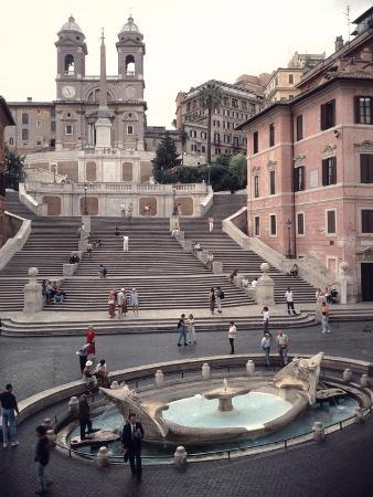 View of the Spanish Steps or Scalinata, Designed by Francesco de Santis