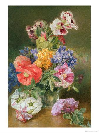 Roses, Poppy and Pelargonia