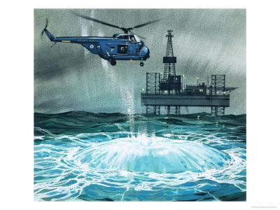Helicopter Approaches an Oil Rig