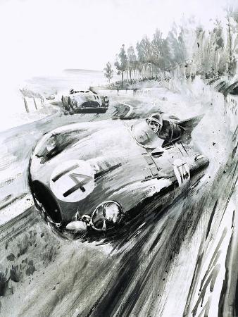 D-Type Jaguar at the 1954 Le Mans