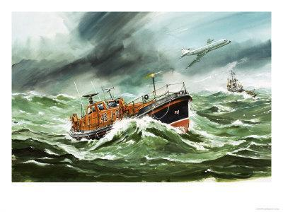 The 15 Metre Rnli Oakley Lifeoat on Its Way to a Ship in Difficulty