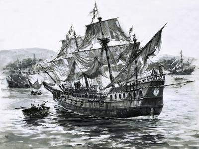 Drake's Ship, the Golden Hind, Limps Back to Portsmouth Carrying Immense Riches