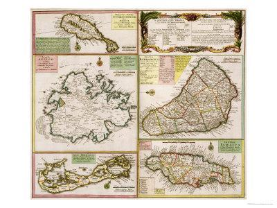 Map of English Colonies in the Caribbean, Pub. by Homann's Heirs, Nuremberg, c.1750