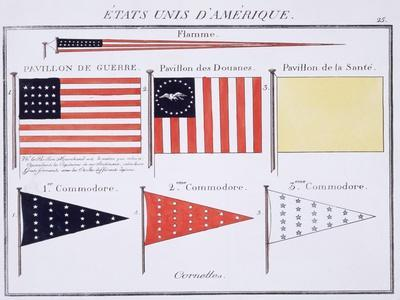 American Maritime Flags and Pennants, from a French Book of Flags, c.1819