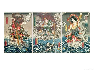 The Actor Ichikawa Ebizo V as the Deity Fudo Myoo Rescuing Ichikawa Danjuro VIII, c.1850