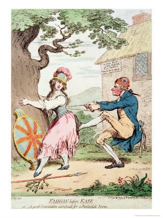 Fashion Before Ease, or a Good Constitution Sacrificed For a Fantastic Form, Pub. H. Humphrey, 1793