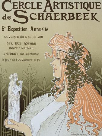 Poster Advertising Schaerbeek's Artistic Circle, Fifth Annual Exhibition, Galerie Manteau, 1897