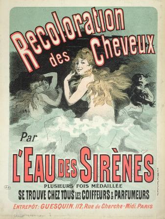 Poster Advertising l'Eau Des Sirenes Hair Colourant, 1899