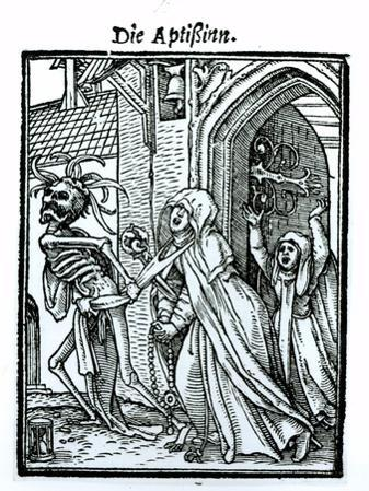 Death and the Abbotess, from The Dance of Death, c.1538