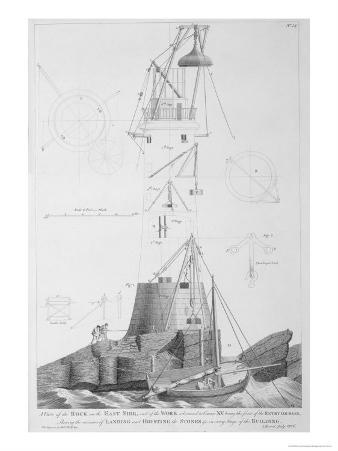 Edystone Lighthouse Engraved by John Record