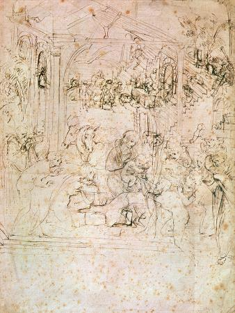 Composition Sketch For the Adoration of the Magi, 1481