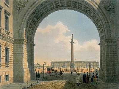 Palace Square, Arch of the Army Headquarters, St. Petersburg, Printed by Lemercier, Paris, c.1840