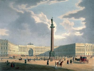 The Alexander Column and the Army Headquarters in St. Petersburg, Printed Lemercier, Paris, c.1840