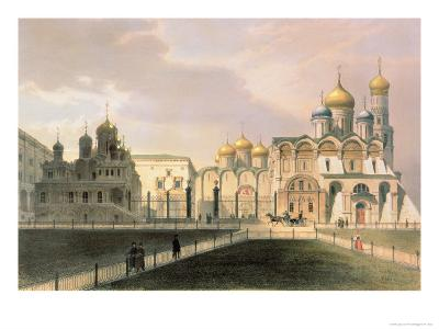 View of the Cathedrals in the Moscow Kremlin, Printed by Lemercier, Paris, 1840S