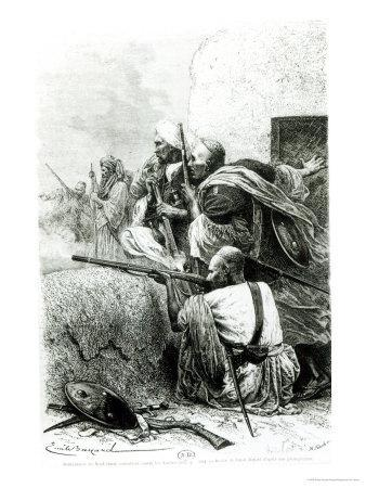 North-Western Afghan Mountain Troops Fighting Against the British, Engraved by H. Koch