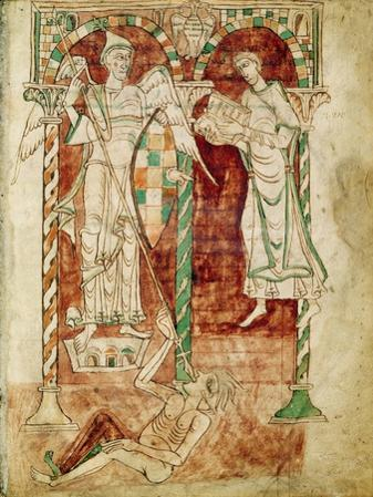Copyist Presents His Book to St. Michael, from Recognitiones by Saint Clement