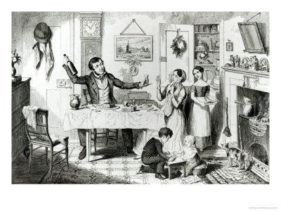 The Bottle, Plate I, the Husband Induces His Wife Just to Take a Drop, 1847