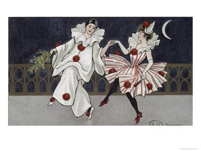 Postcard Depicting Pierrot and His Companion, c.1900