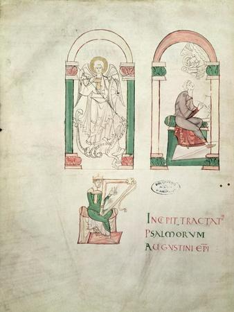 St. Michael, St. Augustine Writing and St. David Playing the Harp, 'saint Augustin Super Psalmos