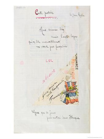 Carte-Postale, Poem Dedicated to Jean Royere from the Case D'Armons Collection, 1915