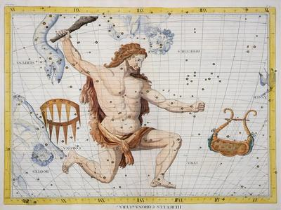 Constellation of Hercules with Corona and Lyra, Plate 21 from Atlas Coelestis, by John Flamsteed