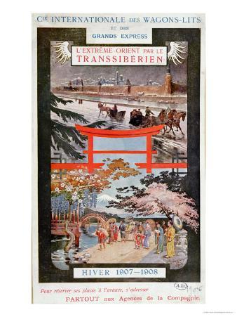 Poster Advertising the Trans Siberian Railway, Winter 1907-8