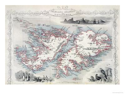 Falkland Islands And Patagonia Series Of World Maps C 1850 Giclee