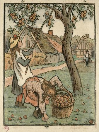 Gathering Apples, from Travaux Des Champs, Engraved by Lucien Pissarro