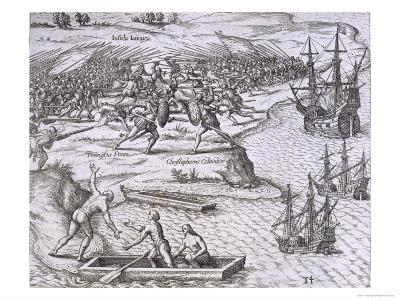Battle in Jamaica Between Christopher Columbus