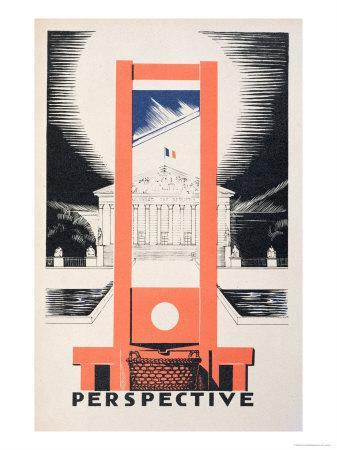 Perspective, the Guillotine Facing the National Assembly, Parlons Francais by Paul Iribe