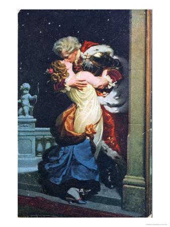 Postcard Depicting an Eighteenth Century Couple Kissing