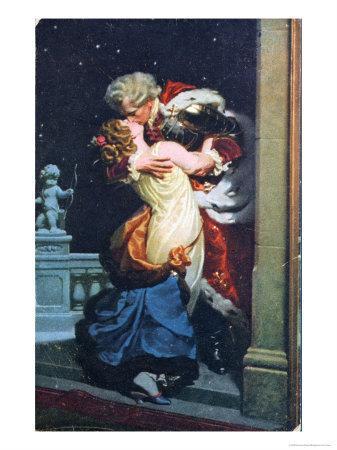 Postcard Depicting an Eighteenth Century Couple Kissing
