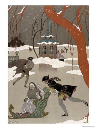Ice Skating on the Frozen Lake, Illustration For Fetes Galantes by Paul Verlaine