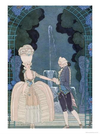 Love under the Fountain, Illustration For Fetes Galantes by Paul Verlaine