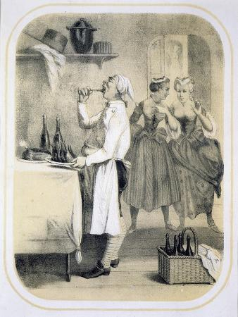 Gluttony in the Kitchen, from a Series of Prints Depicting the Seven Deadly Sins, c.1850