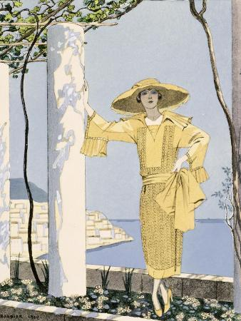 Amalfi, Illustration of a Woman in a Yellow Dress by Worth, 1922