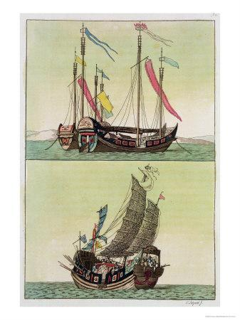 Two Kinds of Chinese Junk, Le Costume Ancien et Moderne, c.1820-30