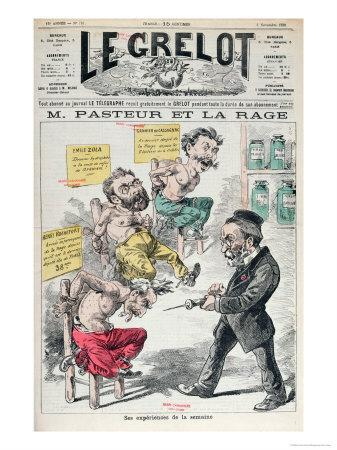Pasteur and Rabies, Caricature of the Experiments of Louis Pasteur
