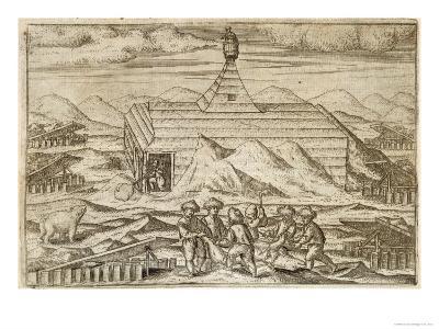 Crew Killing and Skinning Bears, Outside the Cabin, from Gerrit de Veer, 1598