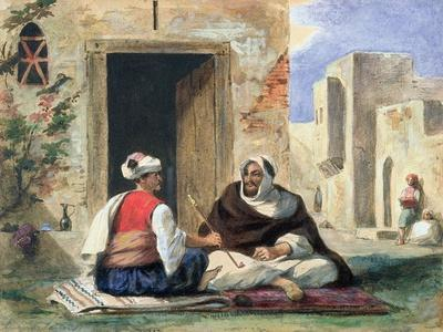 Arab Men Smoking in Front of a House