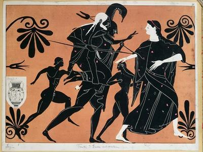 Ancient Greek Vase: The Flight of Aeneas from Troy, with Sons and Carrying His Father Anchises