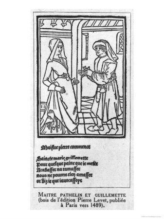Maitre Pathelin and Guillemette, Illustration from The Farce of Master Pathelin, c.1489