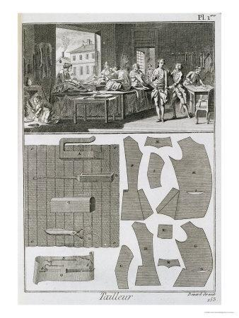 Tailor's Workshop and Patterns, from the 'Encyclopedie Des Sciences et Metiers' by Denis Diderot
