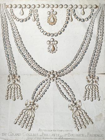 The Diamond Necklace Involved in the Affair of the Collier de La Reine, c.1785