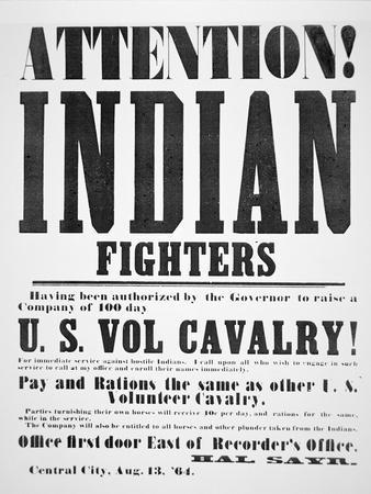 Recruitment Poster For the U.S. Volunteer Cavalry, 1864