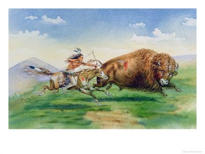 Sioux Hunting Buffalo on Decorated Pony