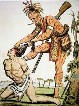 Iroquois Warrior Scalping a White Victim