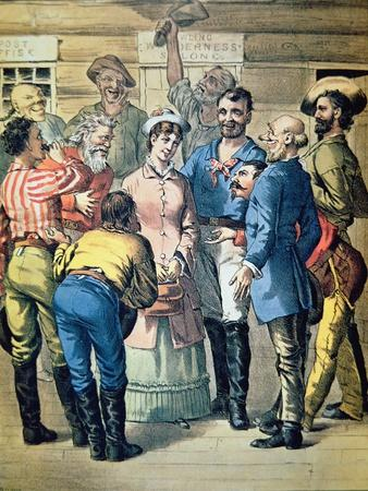 Prospectors Gather Round a Woman in a Gold Camp