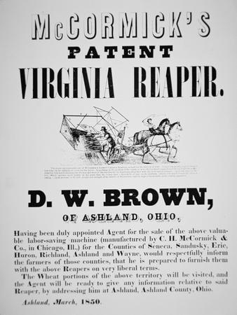 Mccormick's Patent Virginia Reaper Advert, 1850