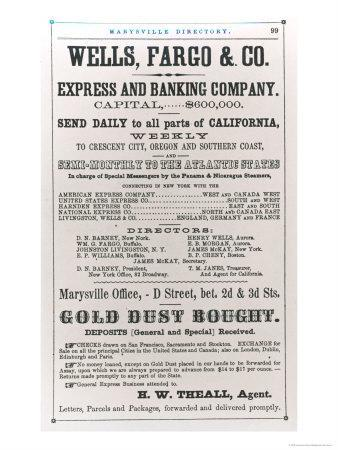 Wells Fargo and Co. Advertisement of 1856